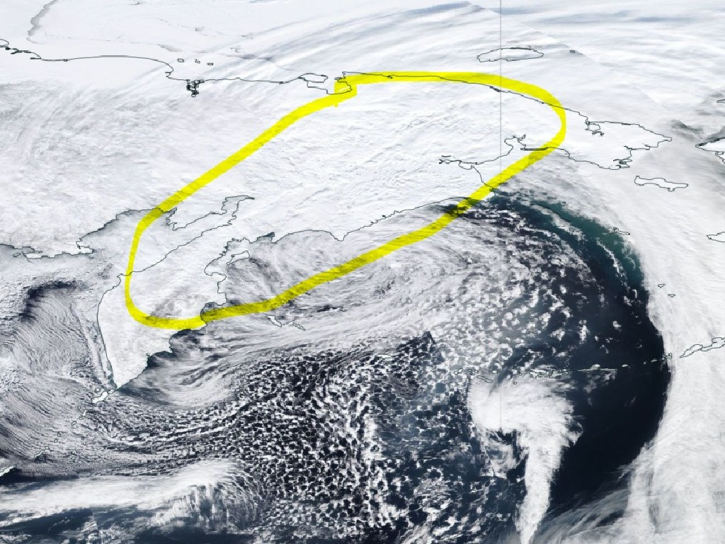 The Met Office offered up this satellite picture from March 4. Circled in yellow is the cloud formation.