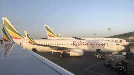 An Ethiopian Airlines Boeing 737-800 parked at Bole International Airport in Addis Ababa, Ethiopia. Picture: AP.