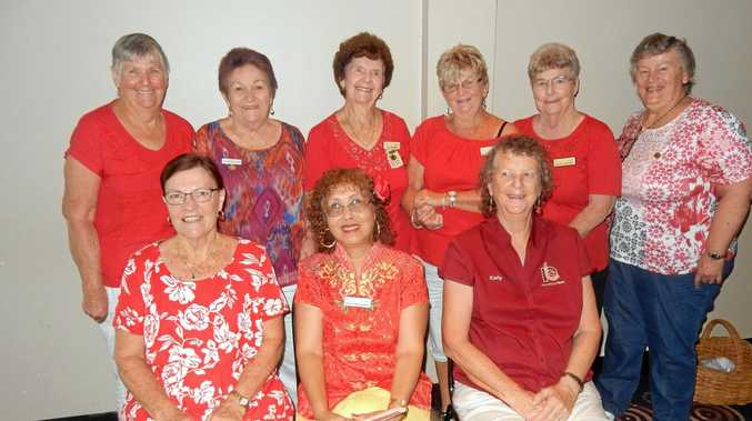 Some of the Gympie National Seniors ladies dressed for Valentine's Day (Back: left to right) Fay Groves, Marion Manthey, Val Harris, Glenis Cameron, Dawn Treeby and Lorelle Darlington. Seated Jan Davies, Mayflower Kanitz and Kathy Sandison.