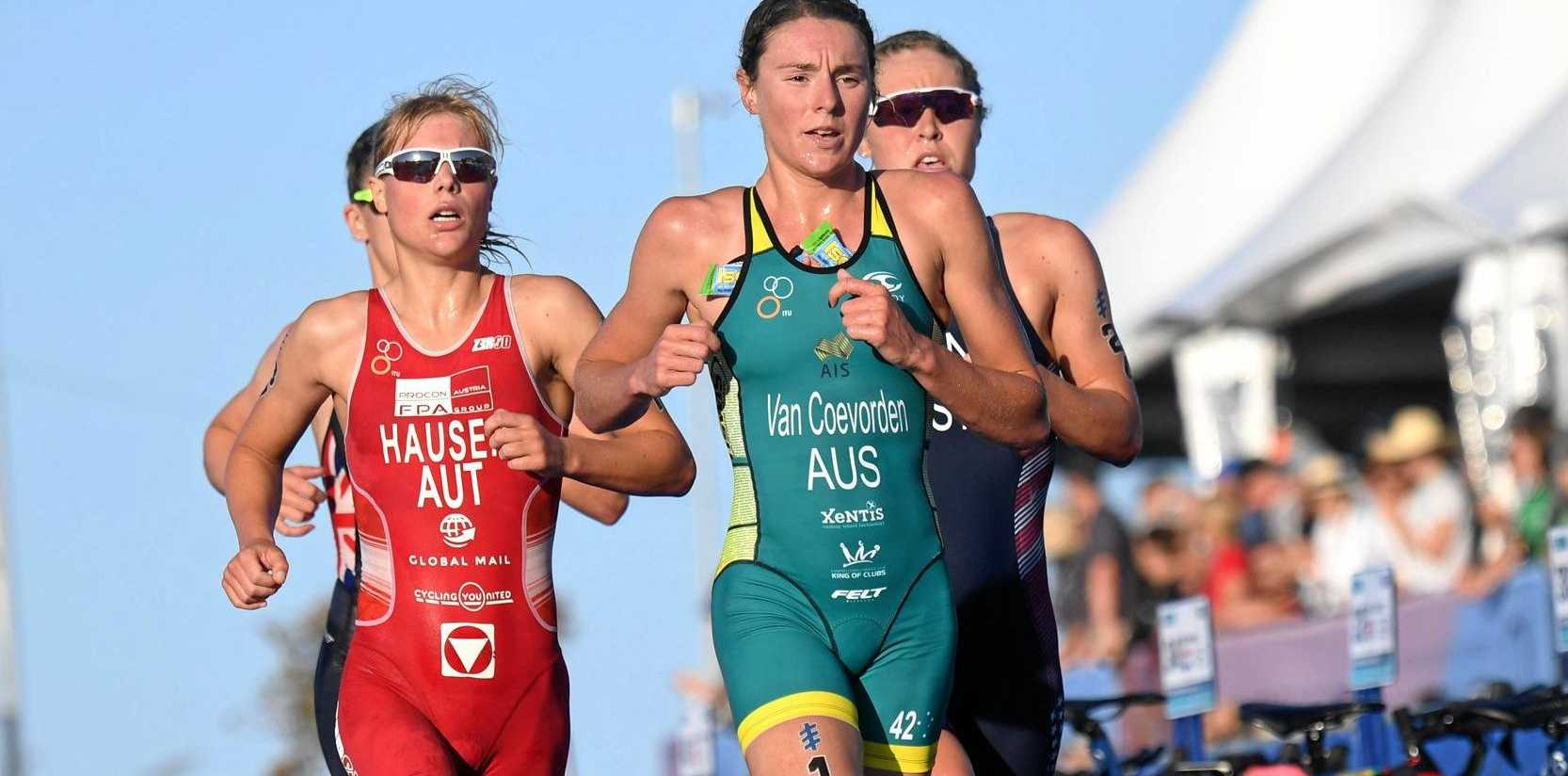 HIGH HOPES: Natalie Van Coevorden in action at the ITU World Triathlon Series Grand Final on the Gold Coast last year. She's keen to fire at the Mooloolaba Triathlon this weekend.
