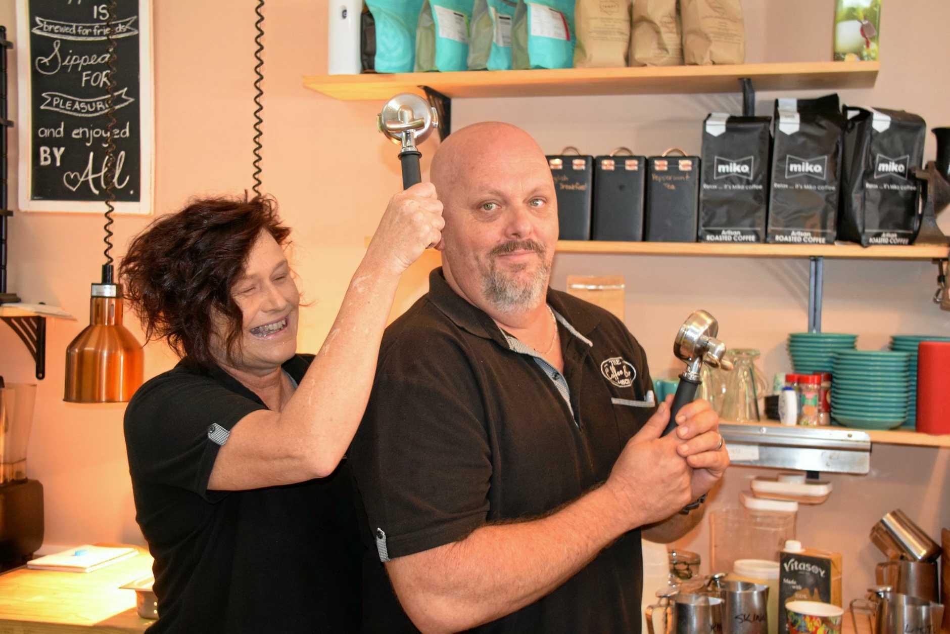STRONG SHOT: Helen Walker knocks her coffee making husband, Shaun into gear.