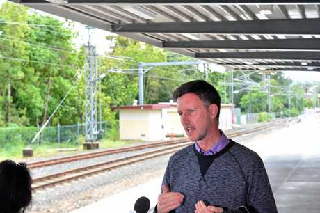 FLASHBACK: Minister for Transport and Main Roads Mark Bailey in Nambour to announce a $160 million State Government commitment to rail duplication between Nambour and Beerburrum in June last year.