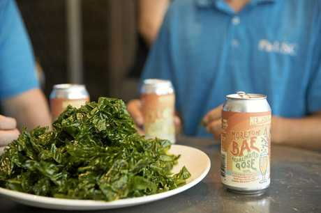FRESH FLAVOUR: The Moreton Bae Resalinated Gose with fresh ulva seaweed.