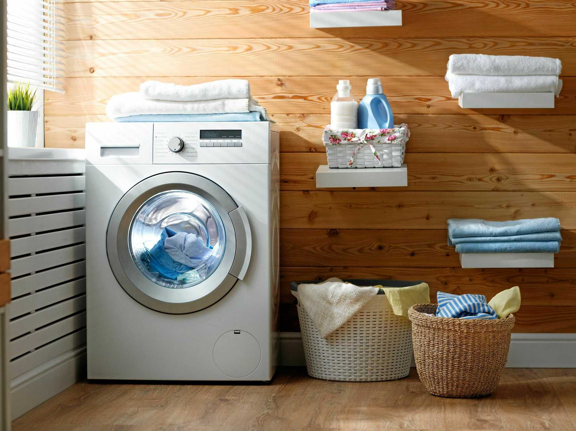 A stylish contemporary laundry space.