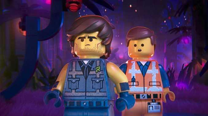 Rex Dangervest (voice of Chris Pratt) and Emmet (also voice of Chris Pratt) in a scene from The Lego Movie 2.