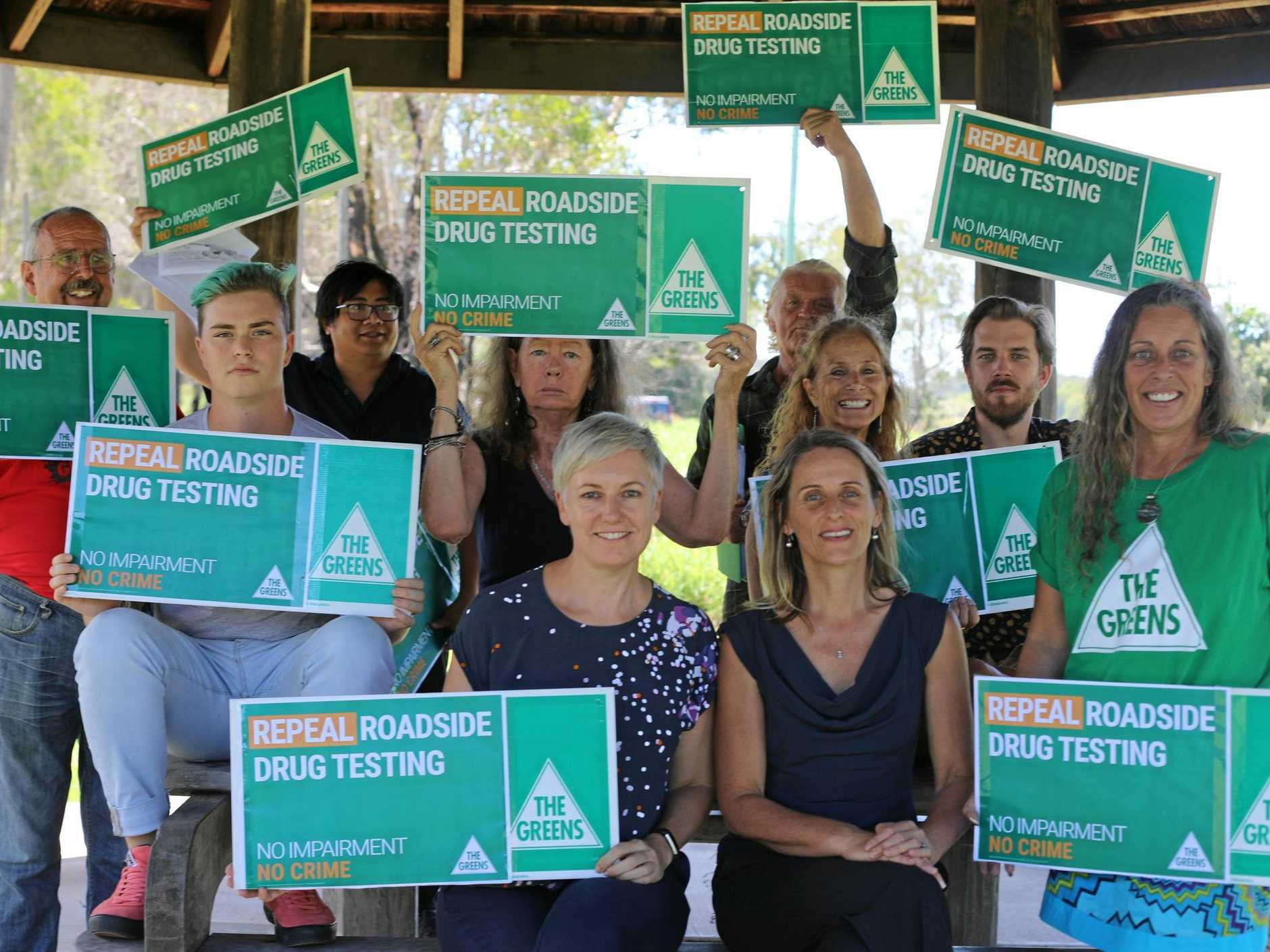 The Greens' Lismore candidate Sue Higginson and MP Cate Faehrmann with supporters of their party's drug reform plans.