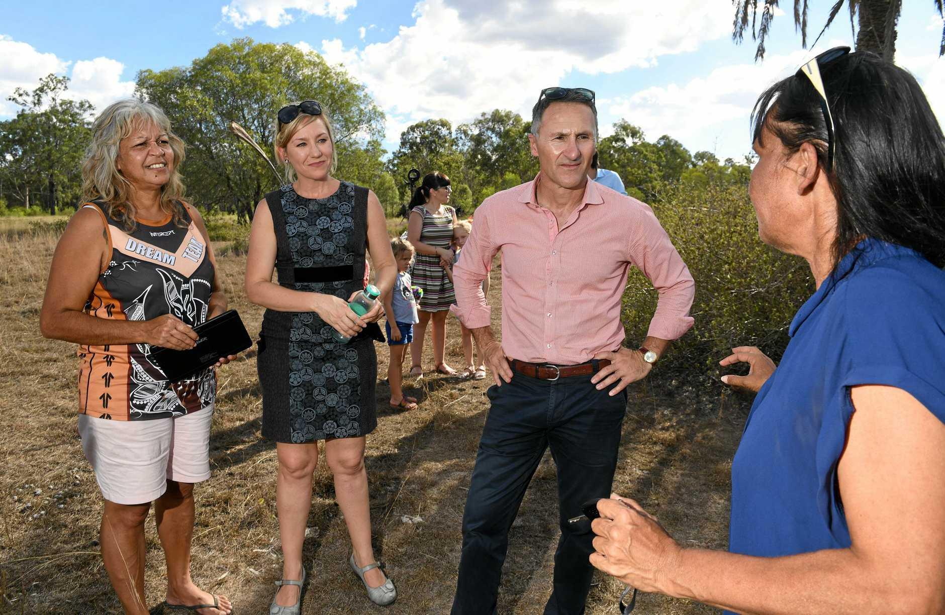Australian Greens Parliamentary Leader Richard Di Natale and Qld Senator Larissa Waters at the Deebing Creek Mission site on Tuesday.
