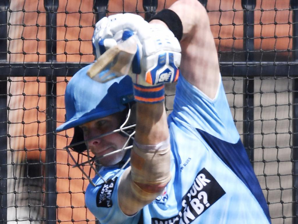 Steve Smith batting freely in the nets at a NSW training session at Drummoyne Oval on Tuesday. Picture: AAP
