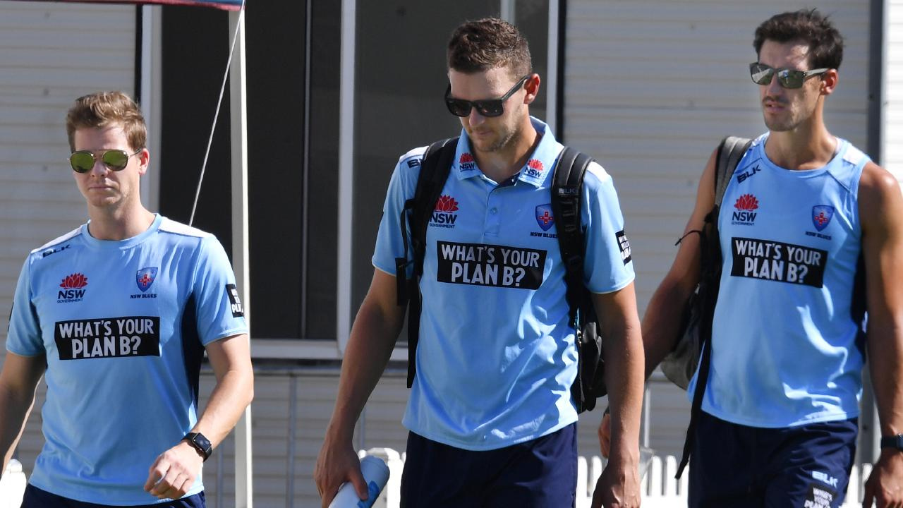 Steve Smith (left), with NSW teammates Josh Hazelwood (centre) and Mitchell Starc (right) at Drummoyne Oval on Tuesday. Picture: AAP