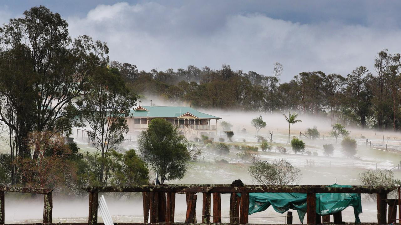 Properties south of Gympie resembled snowfields after a super cell dumped hail, tore down trees and caused devastation across the region in October. Photo: Lachie Millard