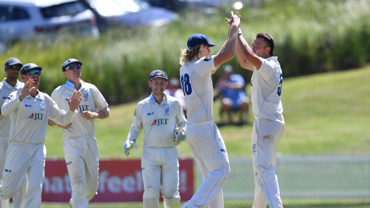 NSW's Harry Conway celebrates yet another wicket.
