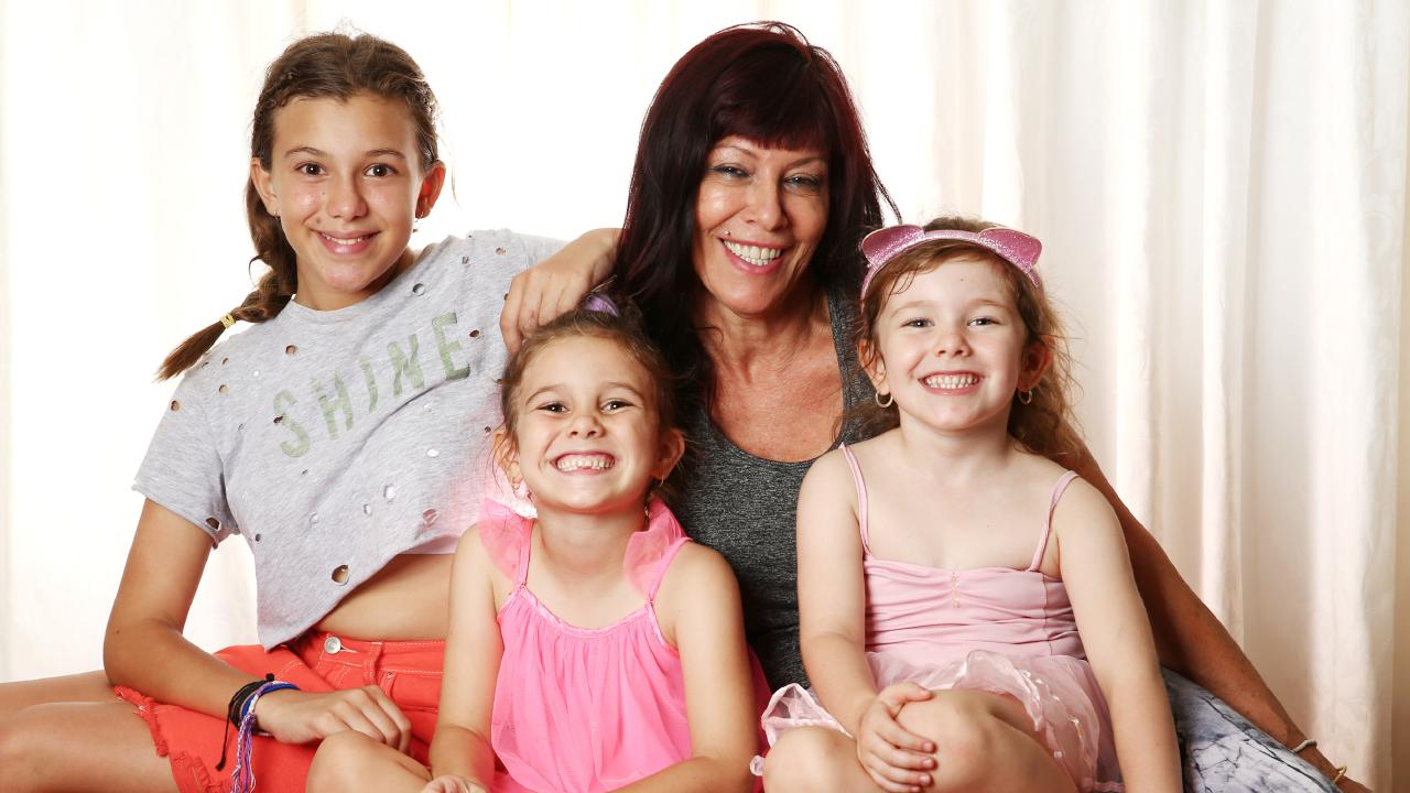 Older mum Stella Mastin with her three youngest children Sapphira, 11, Skylar, 6, and Selena, 4.