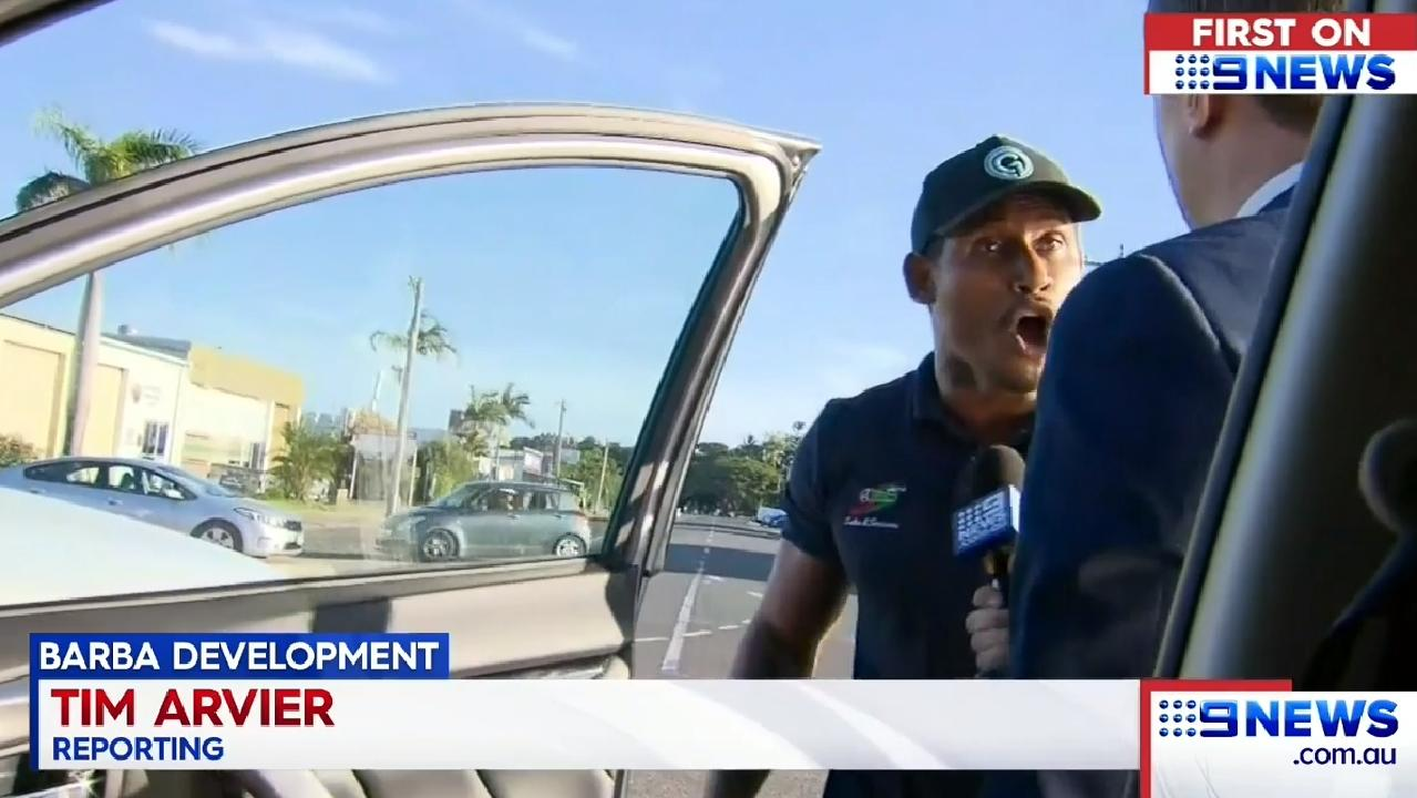 Ben Barba screams in the face of Channel 9 reporter Tim Arview. Pic: Nine