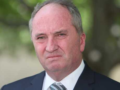 Barnaby Joyce during a press conference at Parliament House in Canberra. Picture Kym Smith