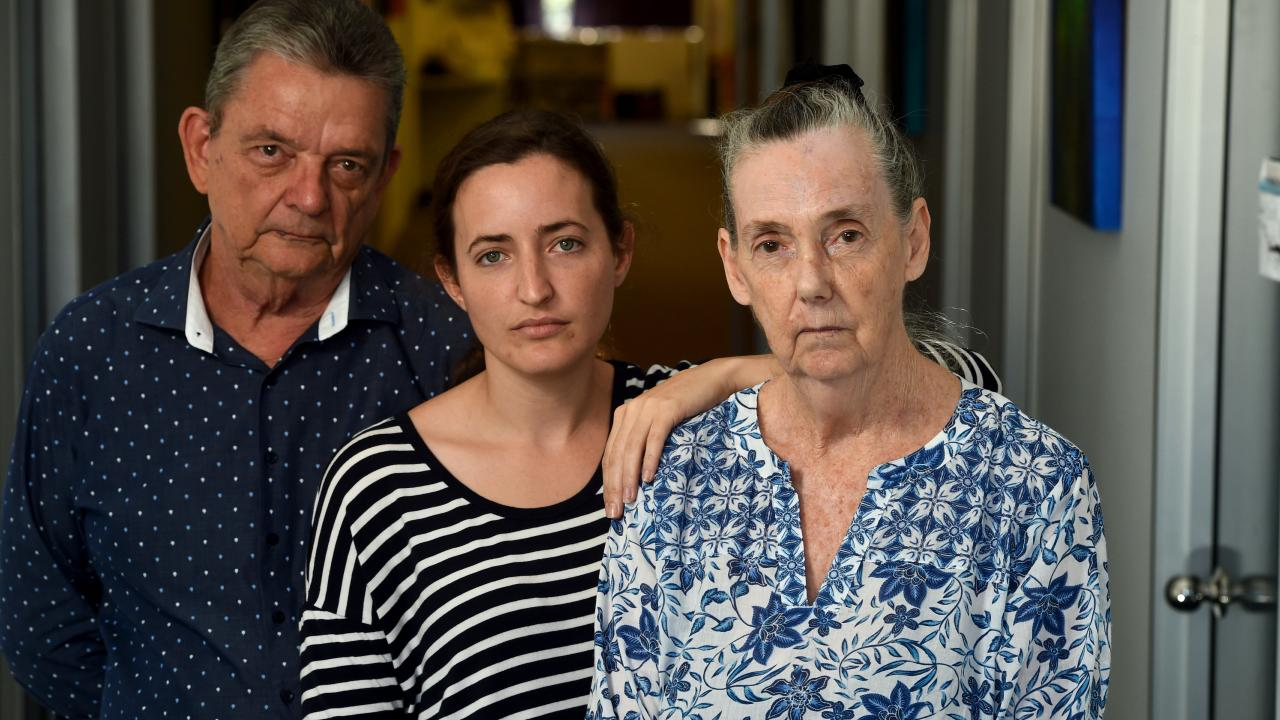 John Brown, Lexie Campbell and Pauline Woodbridge at the North Queensland Domestic Violence Resource Service. Picture: Evan Morgan