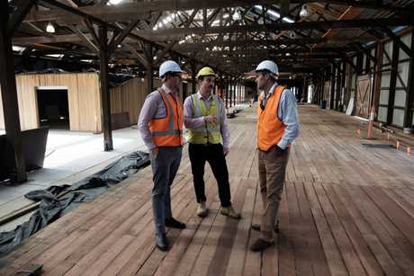 Tour of the Goods Shed, a month out from when it is expected to open. 12/03/19. Toowoomba Regional Council project manager Nick Delany, Newlands Group general manager Dan Charlesworth, and Cr Geoff McDonald.