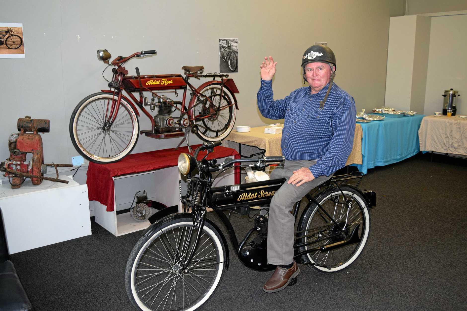 Motorcycle veteran John Hastings displayed his replica Pioneer Motorbike at the official opening of the Independent Riders Workshop.
