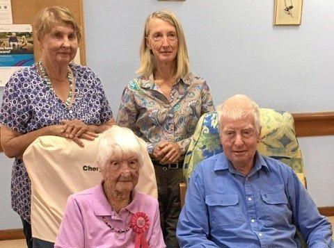 BACK: Joan Cogill and Kathleen Harrison. FRONT: Annie Scott and Patrick Scott at Annie's 105th birthday.