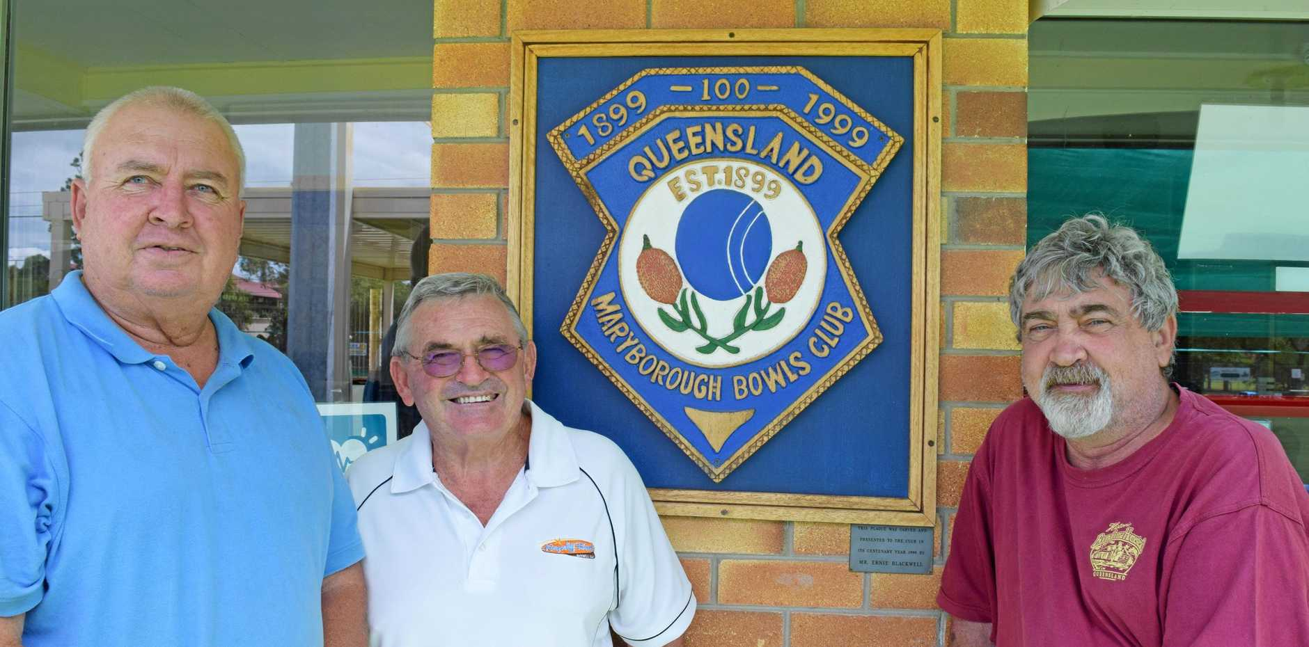 Maryborough Bowls Club members (from left) Laurie Genrich, Des Blazely and Bob Magee are working together to develop a strategic plan for their club's future.