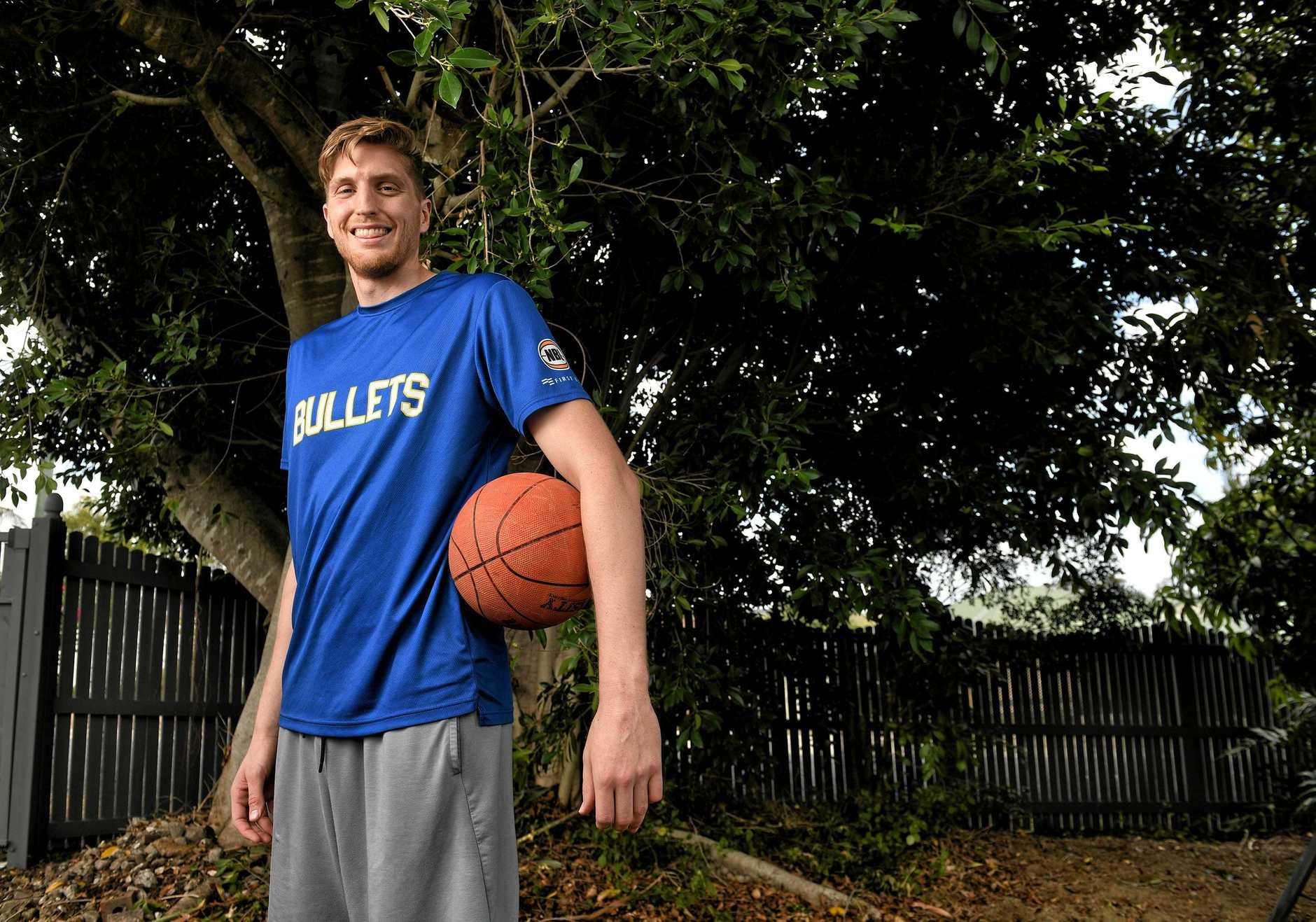 Ipswich basketballer Matt Hodgson at home.