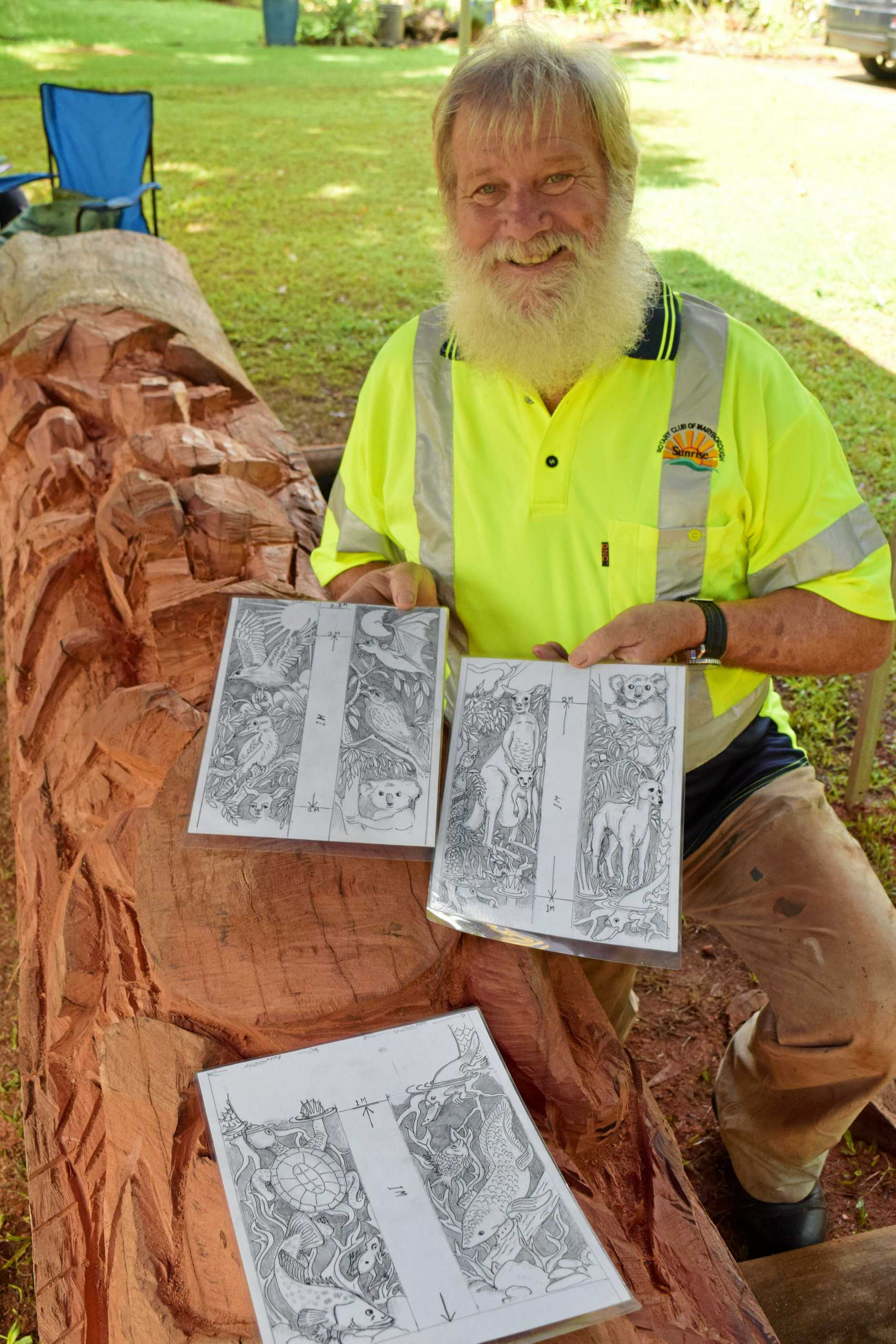 The drawings Maryborough artist Willy Paes will carve onto the Maryborough Sunrise Rotary Club Peace Pole which is expected to be erected at the Brolga Theatre.
