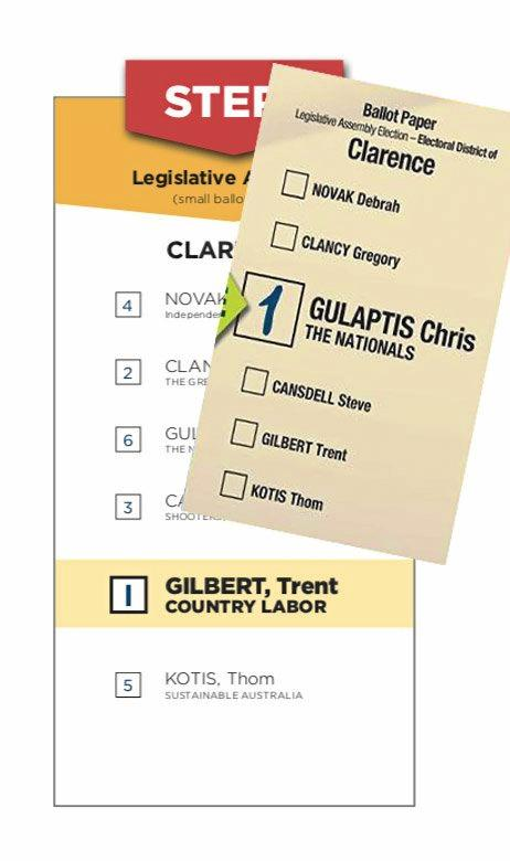 NUMBERS: Opposite approaches from Labor candidate Trent Gilbert and Nationals sitting member Chris Gulaptis on their how-to-vote cards.