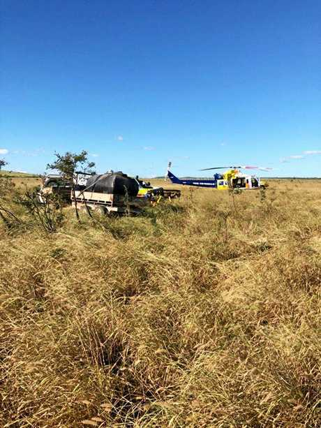 A 53-year-old man suffered possible spinal and internal injuries after he was crushed by a horse on a remote property about 150km south-west of Mackay yesterday.