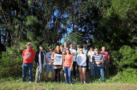 Team Koala members, including Jenny Hayes (centre) oppose amendments to the Kings Forest koala management plan in 2017.