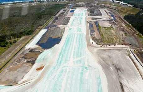 UNDER CONSTRUCTION: The new Sunshine Coast Airport runway.