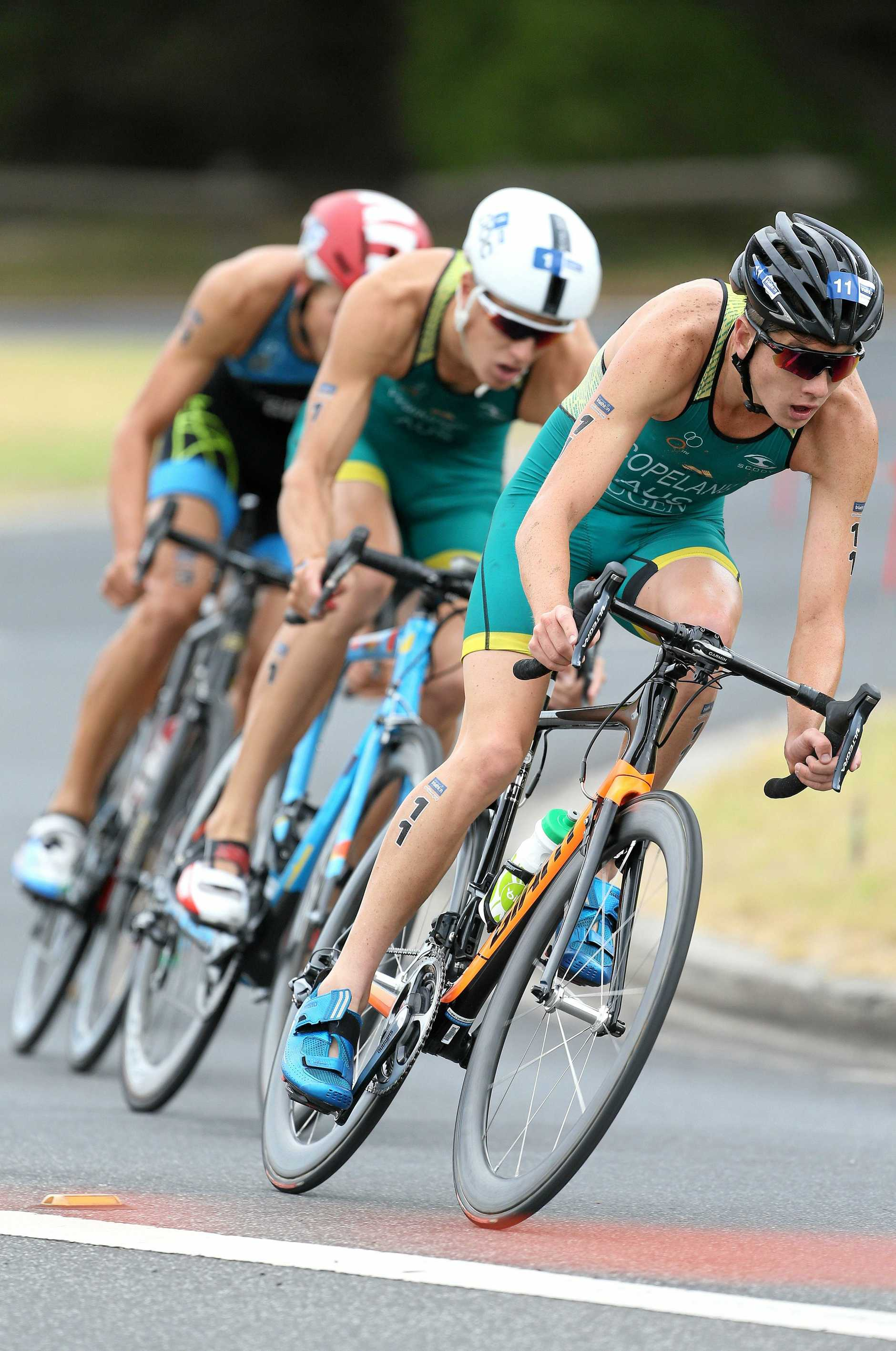 AMID THE FIELD: Brandon Copeland, pictured racing at Devonport, will be among those competing in the elite men's race at Mooloolaba.
