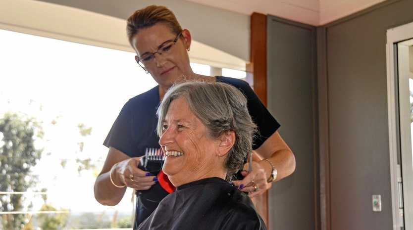 GOOD CAUSE: Chaille Twine shaved off her long locks in the name of charity at Gayndah Hospital on March 13.