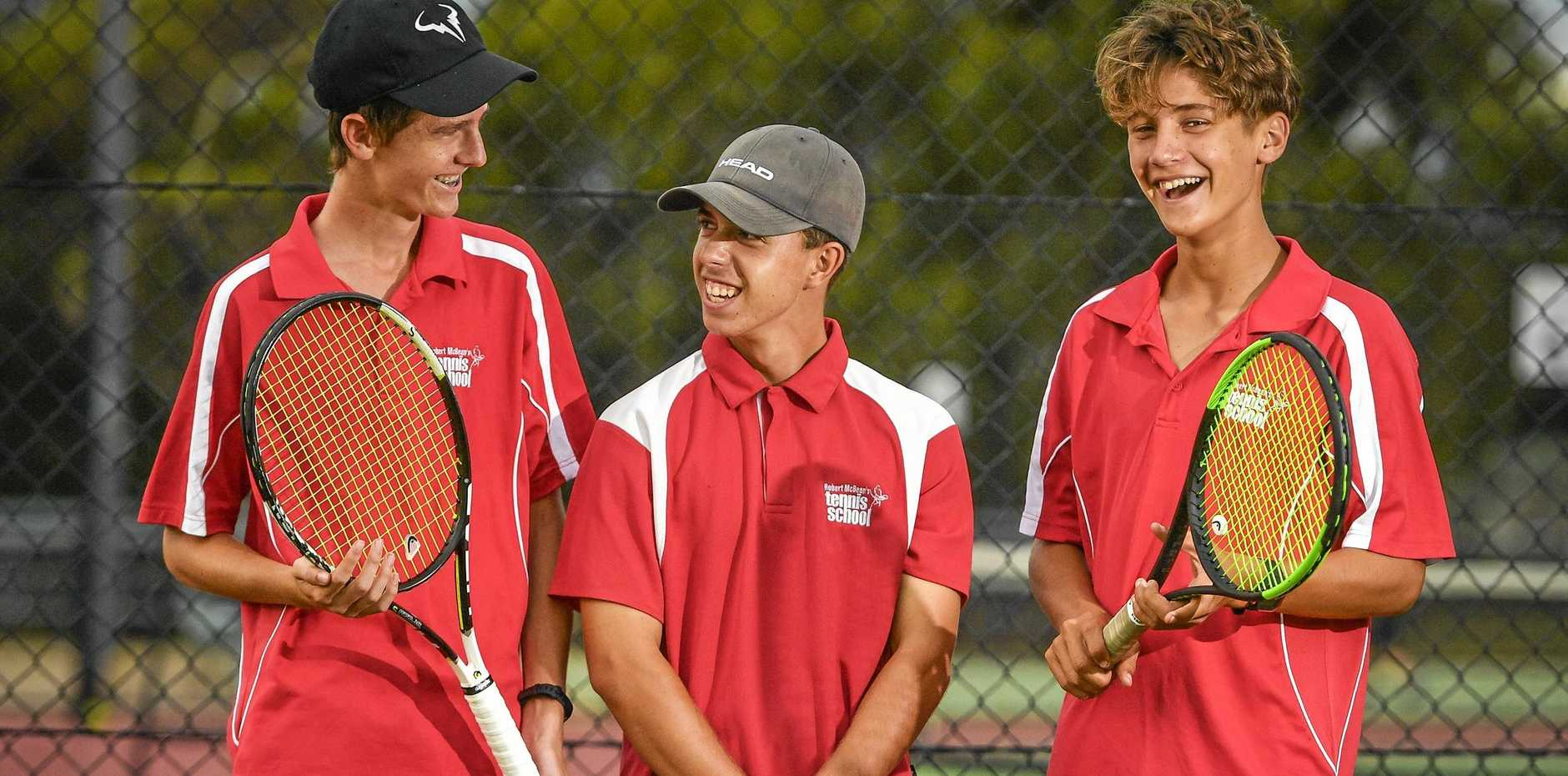 ACES: Gladstone players Thomas Llewellyn, Nick Crane and Dylan Price will play in the QSS Girls and Boys Tennis Champs