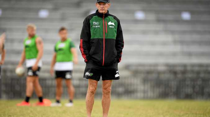 Wayne Bennett looks on during a team training session at Redfern Oval.