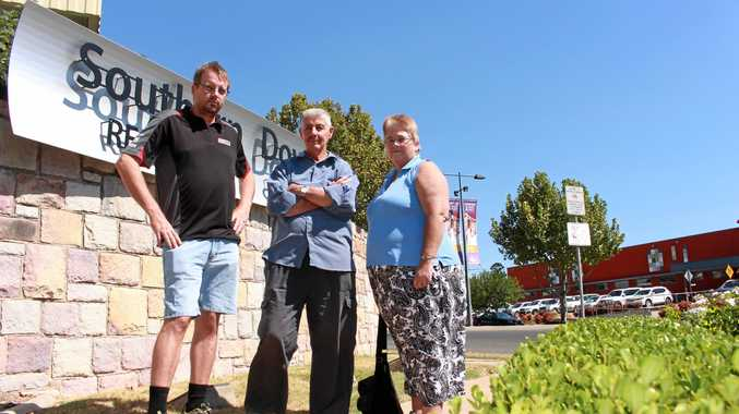 Tim Scheele, Bevan Bird and Andrea Collett watched Southern Downs councillors pass a motion to move to extreme water restrictions in a meeting yesterday.