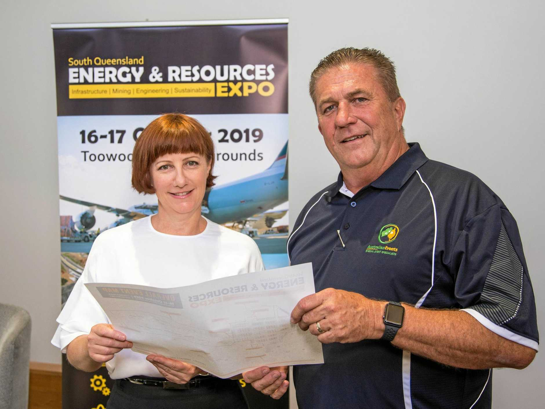 INDUSTRY FOCUS: Toowoomba and Surat Basin Enterprise CEO Ali Davenport and Australian Events director Bob Carroll launch the 2019 Energy and Resources Expo