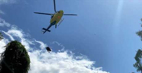 The man was airlifted to the Royal Brisbane and Women's Hospital.
