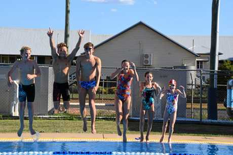 IN THE DEEP END: Kingaroy representative swimmers enjoy a break from their dedicated training.