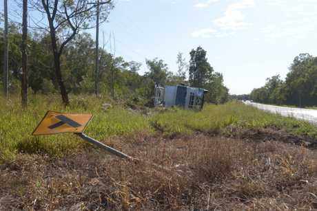 Emergency services attended the scene of a truck rollover on Childers Rd.