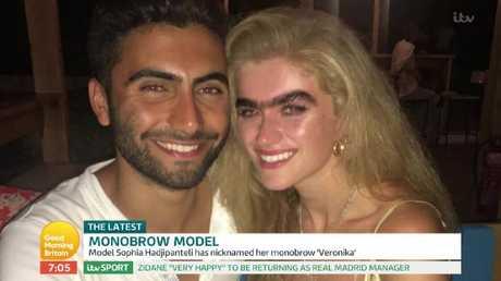 Sophia with her boyfriend Zac Apostolou who loves her monobrow. Picture: ITV
