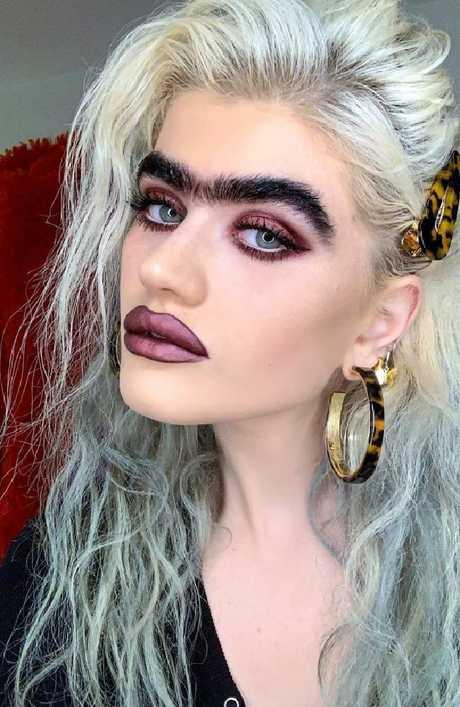 Model Sophia Hadjipanteli continues to get mocked for her jet black monobrow. Picture: Instagram