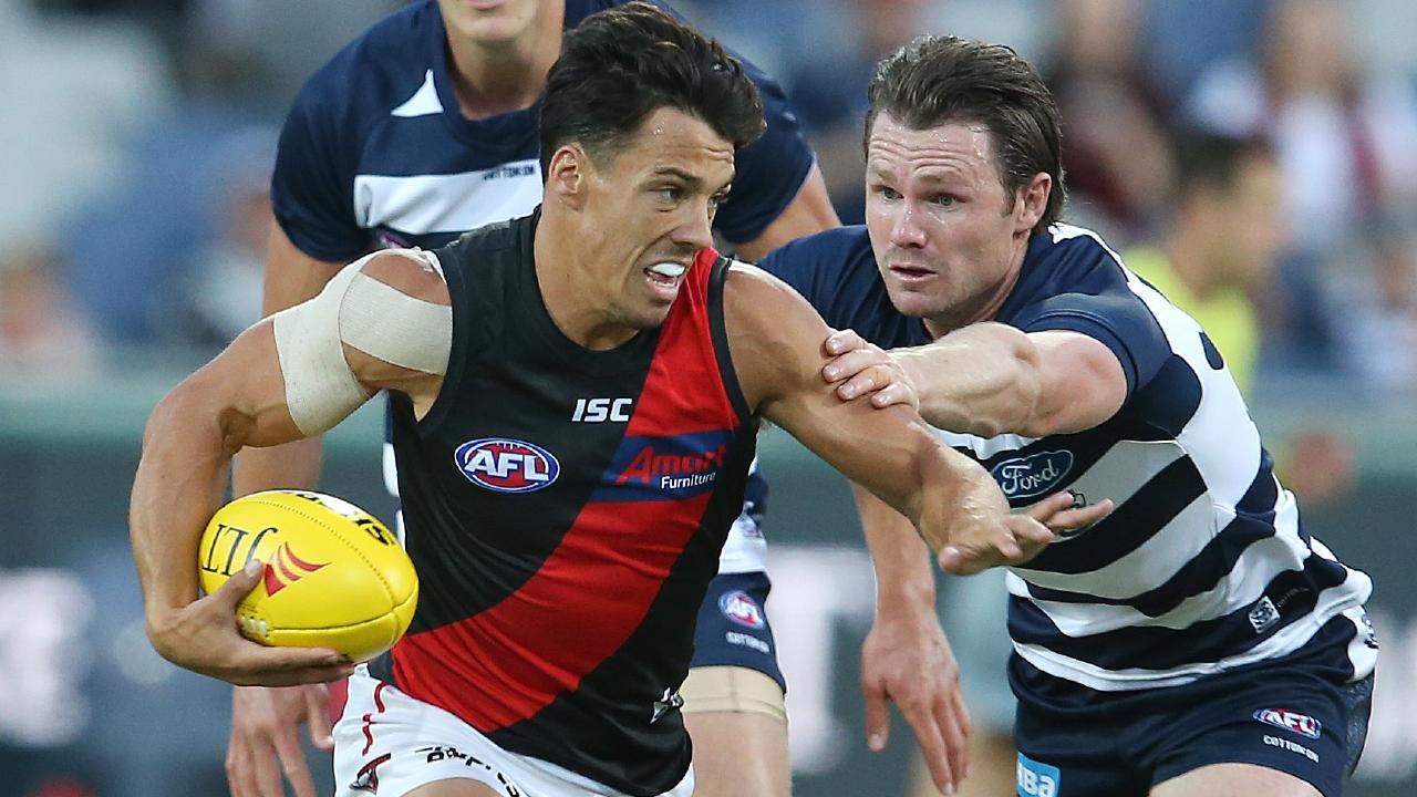 Dylan Shiel breaks away from Geelong's Patrick Dangerfield during the JLT Series. Picture: Michael Klein