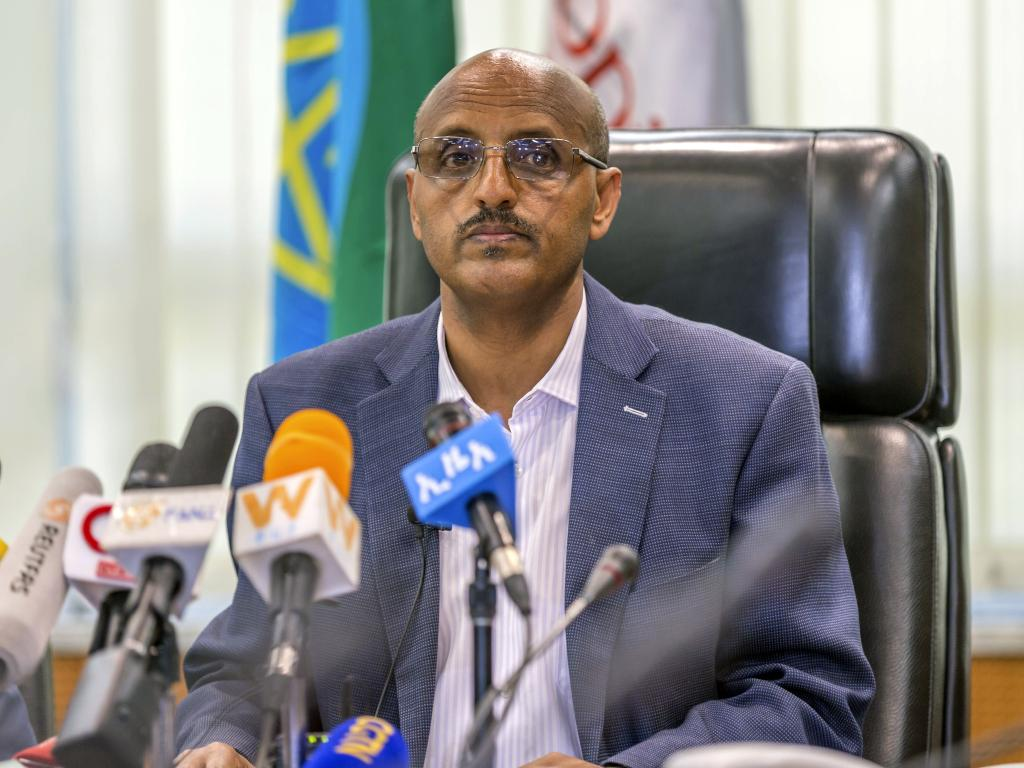 Ethiopian Airlines CEO Tewolde GebreMariam, pictured at a press conference on Sunday, said there were many questions that are not yet answered about the MAX 8 aircraft. Picture: AP/Mulugeta Ayene