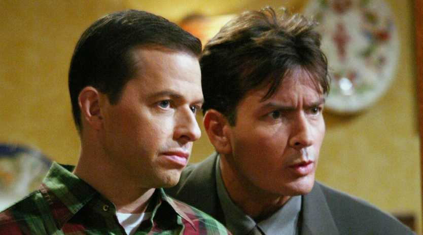 Former co-stars Jon Cryer as Alan and Charlie Sheen as Charlie in TV series Two and A Half Men.