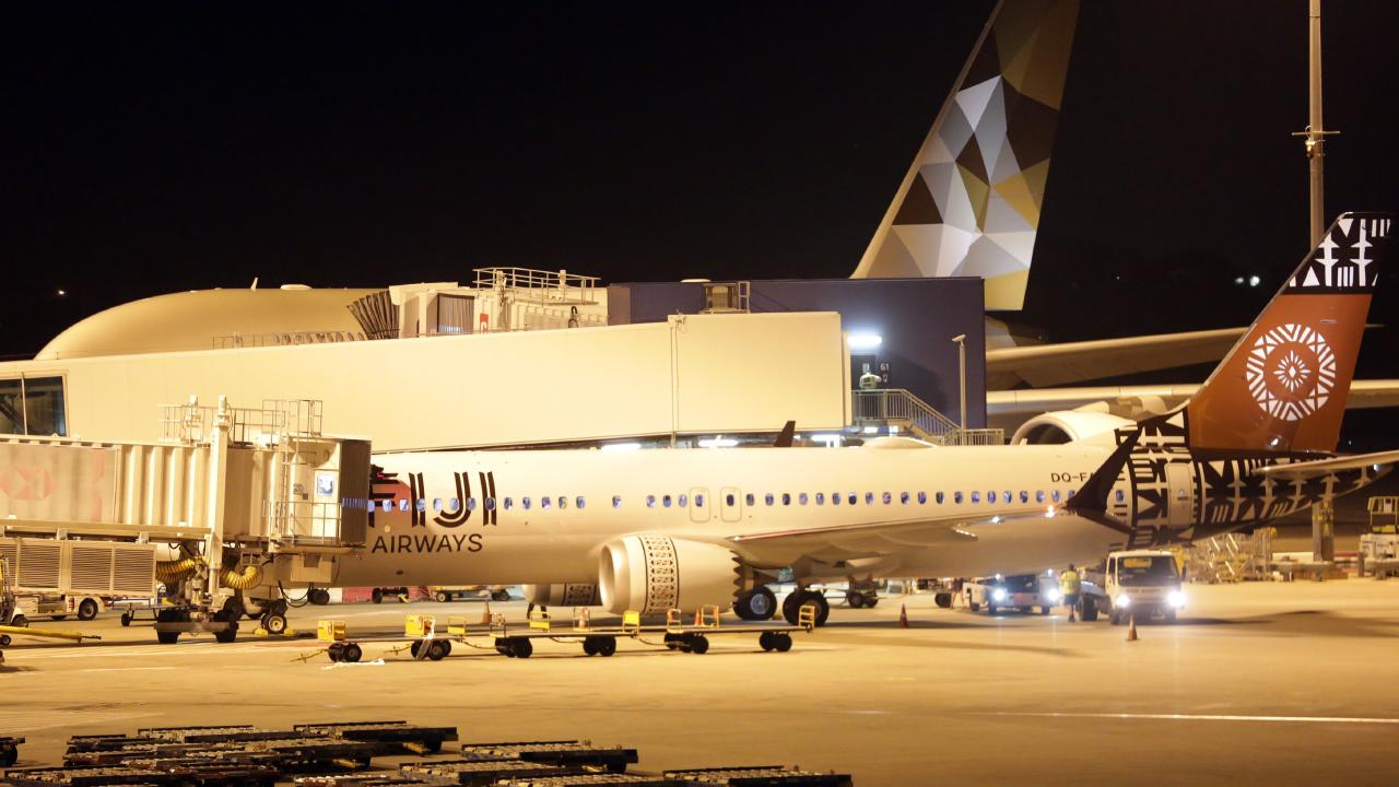 Fiji Airways was granted a special dispensation to land its passenger-laden 737 Max8 aircraft at Sydney International Airport on Tuesday night but was not allowed to fly out with passengers on-board. Picture: Christian Gilles