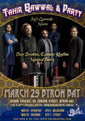 A night of evocative Sufi music from the East with Tahir Qawwal's Ensemble.... featuring poetry, song and rhythm. Features special guest Sangeet Mishra.