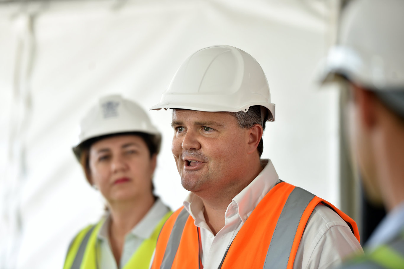 Premier Annastacia Palaszczuk and Member for Fairfax Ted O'Brien went head to head over funding at yesterday's Bruce Highway upgrade inspection.