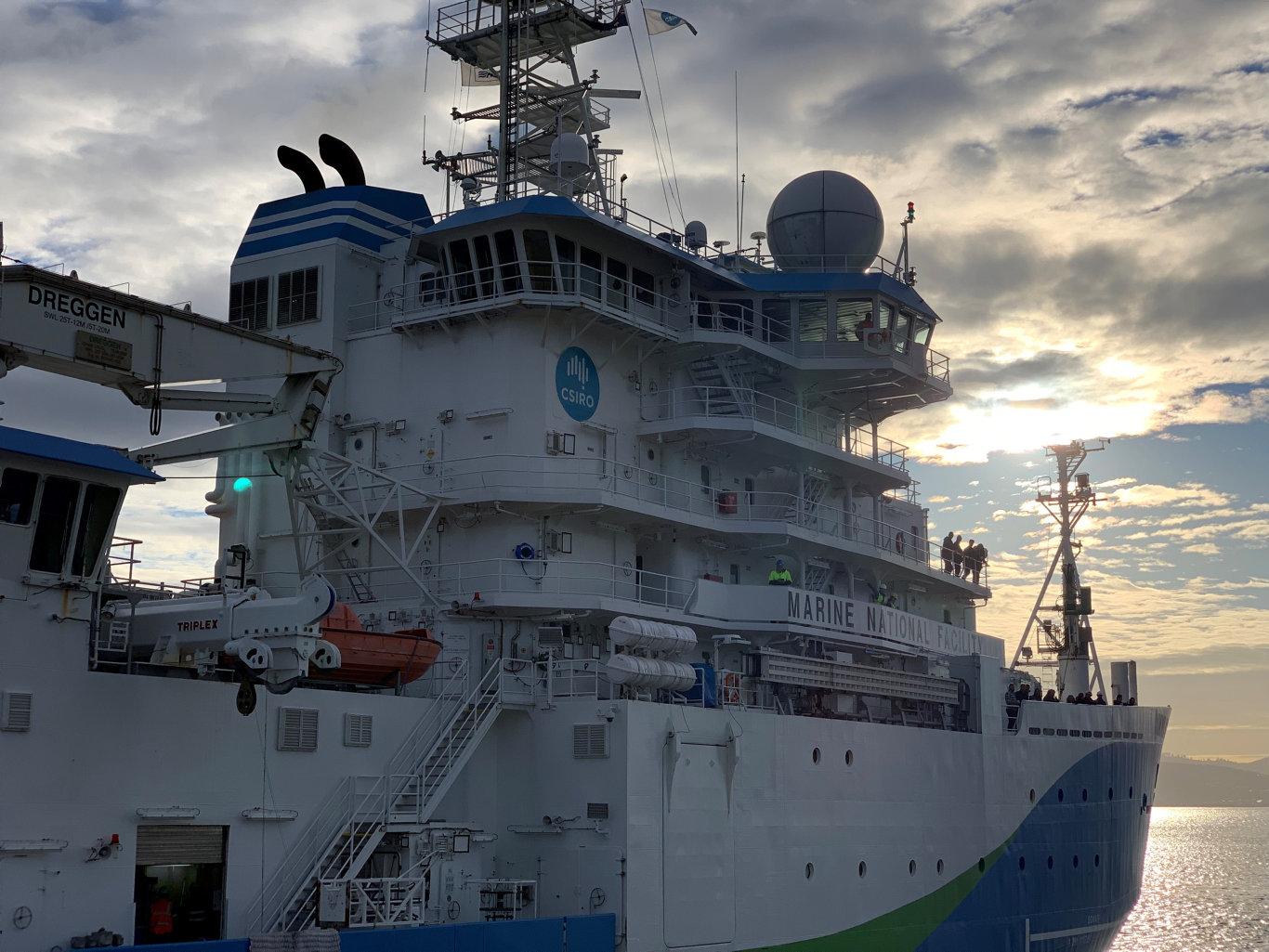 CSIRO marine research vessel RV Investigator departs from Hobart.