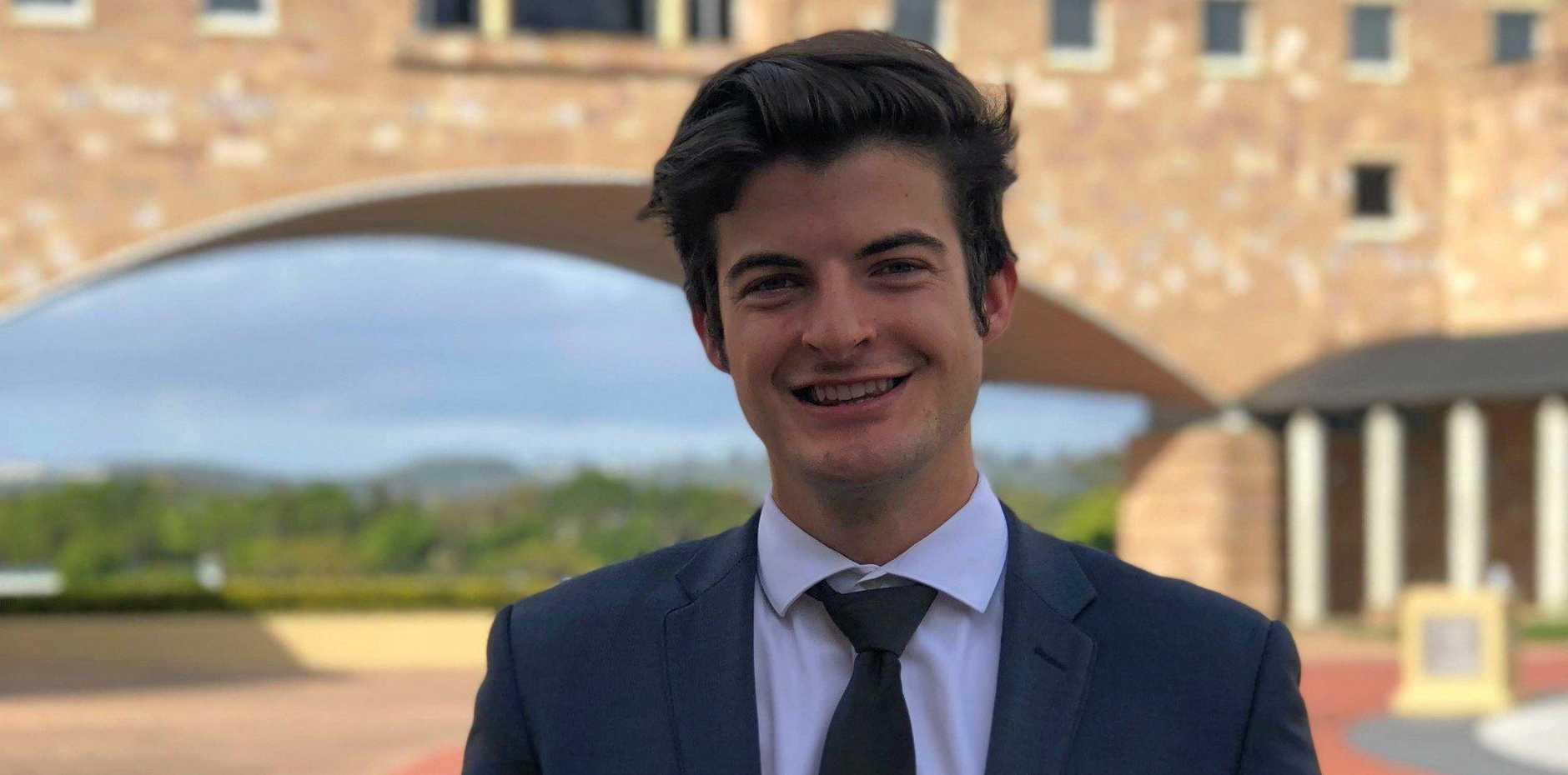 HIGH ACHIEVER: Jacob Cookson, an ex-St Brendan's College student, is studying law and biomedical science at Bond University. He has also accepted a scholarship to study in Hong Kong later this year.