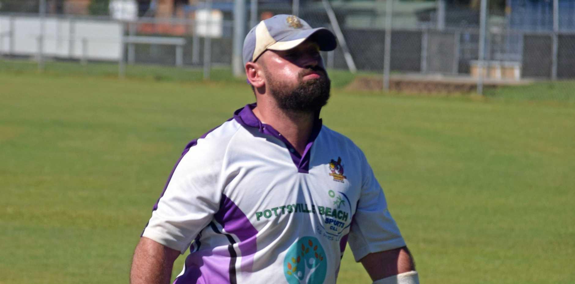 FIRED UP: Pottsville batsman Jayden Hoare .