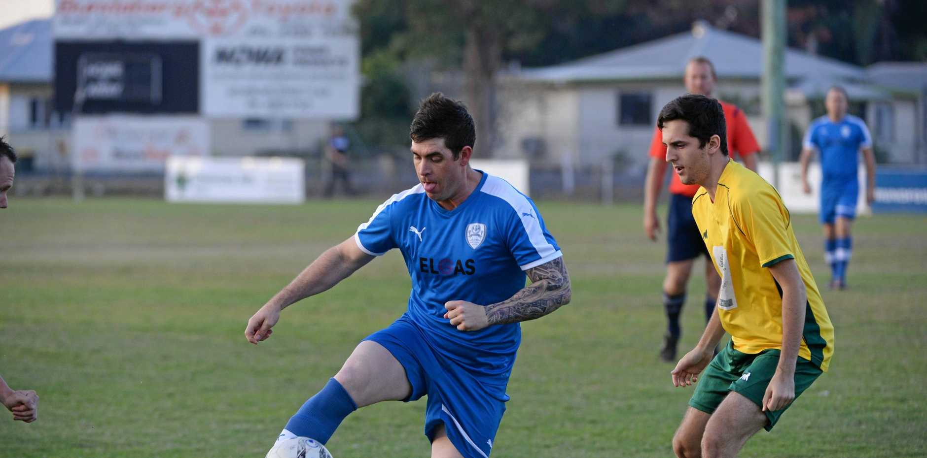 HAVING A BALL: Alloway's Mitchell Zunker plays in the Three Cities League the last time the club entered the competition in 2015. The side is back in Wide Bay in 2019.